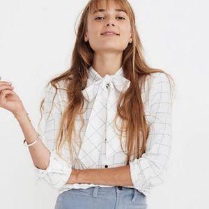 Madewell Flannel Tie-Neck Shirt in Windowpane